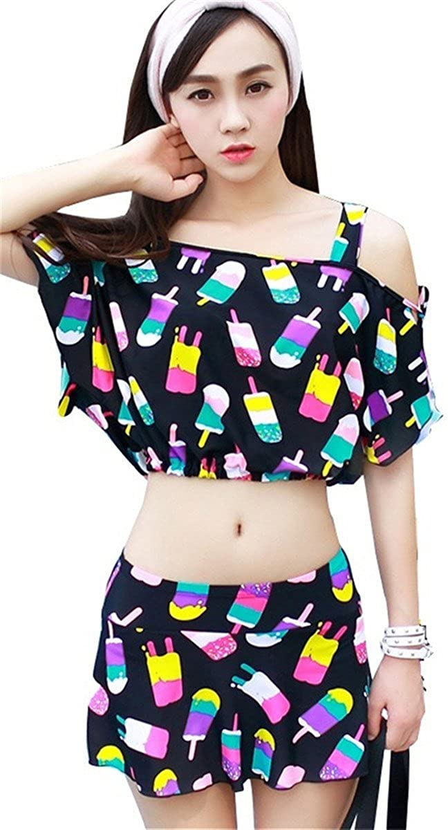 Arctic Cubic 3PCS Popsicle Retro Bikini Top Skirted Bottom Cover Up Off The Shoulder Crop Blouse