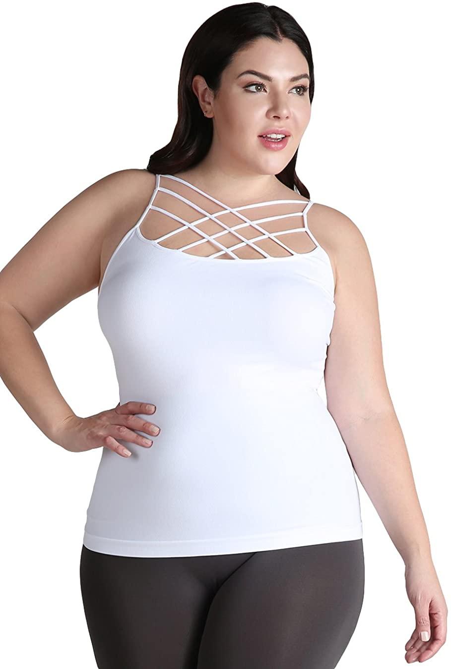 NIKIBIKI Women Seamless Triple Criss Cross Camisole, Made in U.S.A, Plus Size