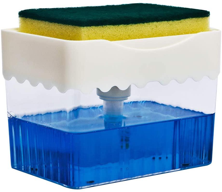 ANTS TRIBE Dish Soap Dispenser, Kitchen Soap Dispenser with Sponge Holder,2 in 1 Manual Press Liquid Soap Pump,13 Ounces(White/Gery) (A-White)
