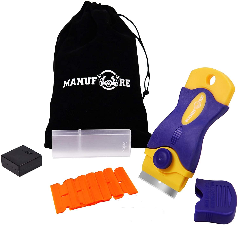 MANUFORE Portable Multi-Purpose Razor Blade Scraper for Cleaning Glass, Stove-top, Window, Floor(1 Scraper and 18 Plastic Blades)