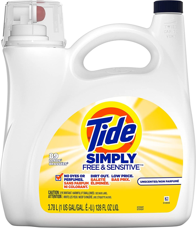 Tide Simply Free & Sensitive Liquid Laundry Detergent, Unscented, 3.78 L / 128 Fl. Oz - 89 Loads