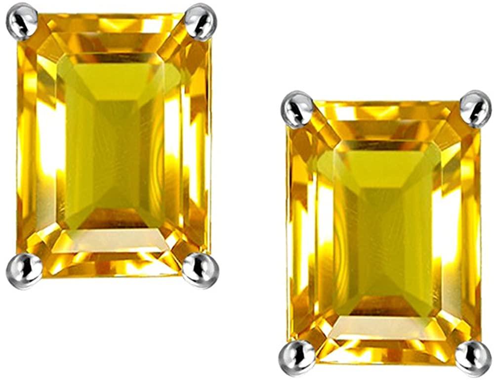 Star K Solid 14k White Gold Emerald Cut 7x5mm Earrings Studs