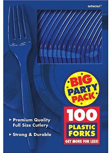 Big Party Pack Plastic Forks | Bright Royal Blue | 100 ct. | Party Supply