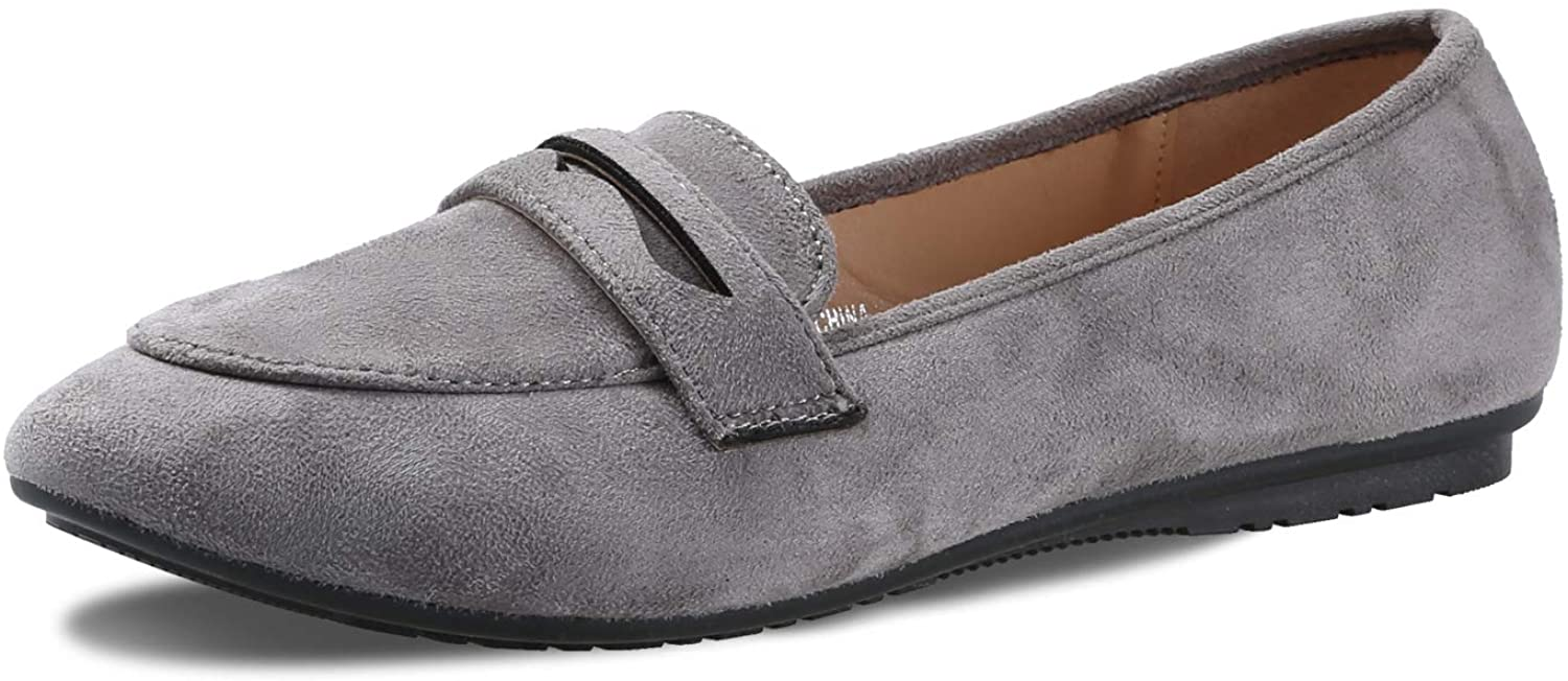 KeBuLe Gray Loafers for Women Suede Flat Slip ons Round Toe Weejuns US Size 8 8.5