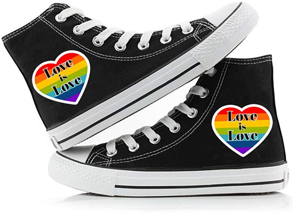LGBT Pride Canvas Shoes High Tops Rainbow Sneaker Letter Printed Lace Up Casual Flats for Men Women Youth