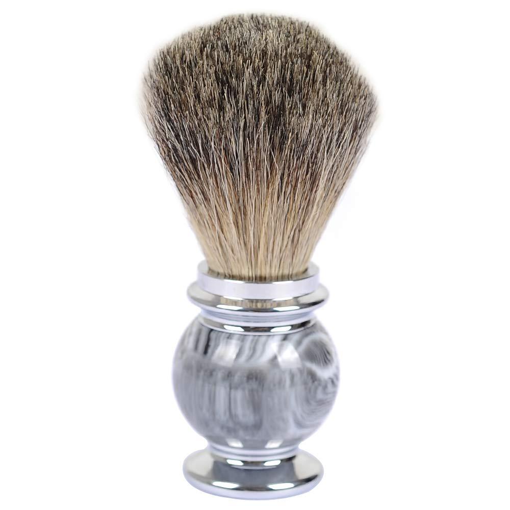 Badger Shaving Brushes, JR Black Badger Brush Hair Knot with Grey Strip Resin Handle Shaving Brushes for Men, Safety Razor, Double Edge Razor, Shaving Razor