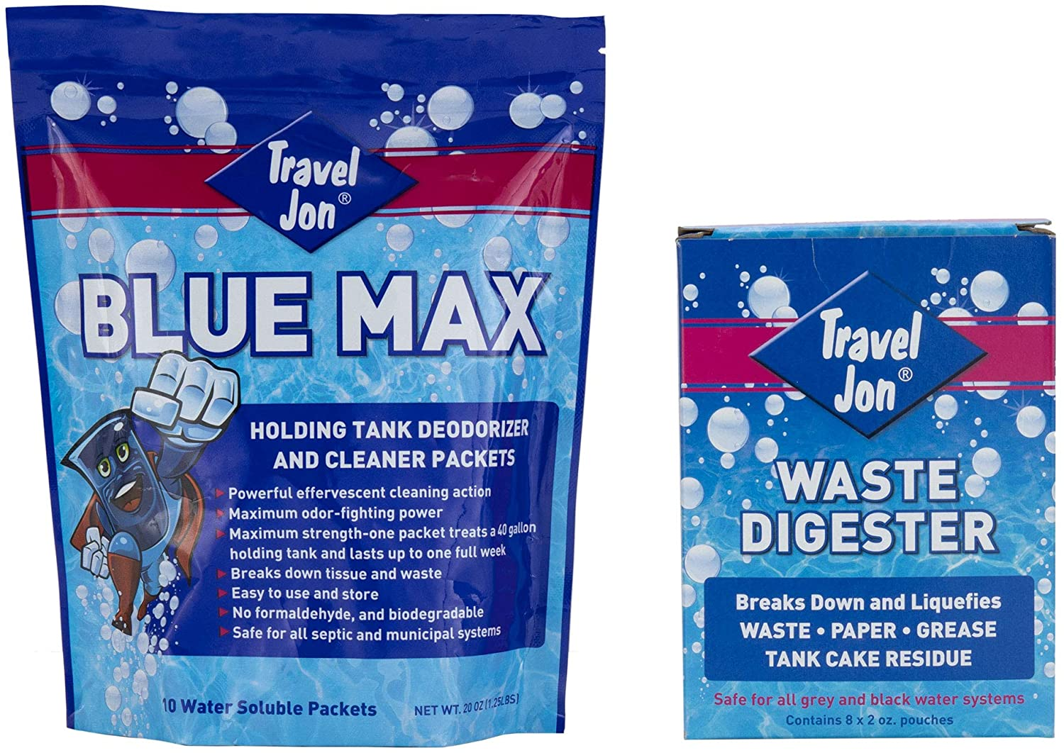 Travel Jon Blue Max Toss-in and Waste Digester Combo | RV Tank Treatment | RV Holding Tank Deodorizer | RV Toilet | Breaks Down Waste and Other Materials