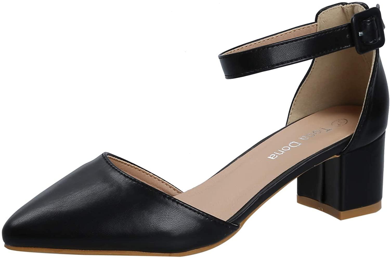 KeBuLe Women's Black Ankle Strap Chunky Sandal Low Block Heels Pump Office Lady Shoes US Size 8 8.5