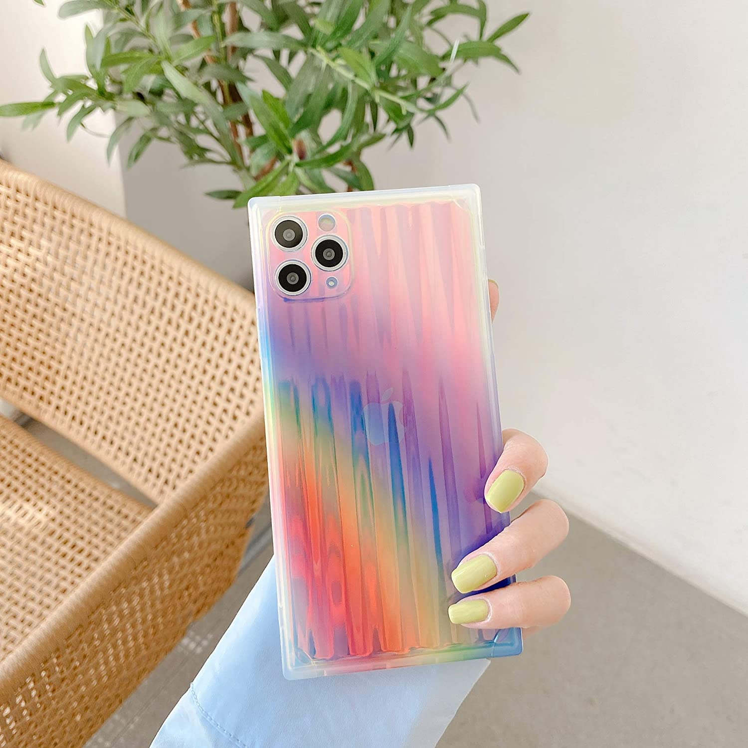 Cocomii Square Holographic Clear iPhone Xs Max Case, Slim Thin Glossy Soft TPU Silicone Rubber Gel Shiny Gradient Reflection Fashion Bumper Cover for Apple iPhone Xs Max 6.5 Inch 2018 (Rainbow)