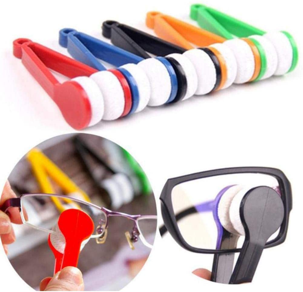 1PC Mini Sun Glasses Eyeglass Microfiber Spectacles Cleaner Soft Brush Cleaning Tool Mini Microfiber Glasses Eyeglasses Cleaner Cleaning Clip (Random Color)