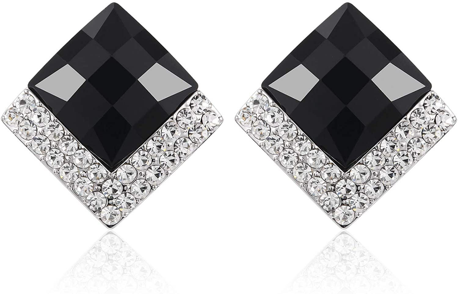 Lavenda W.J 925 Sterling Silver Black and diamond Square Stud Earring For Women