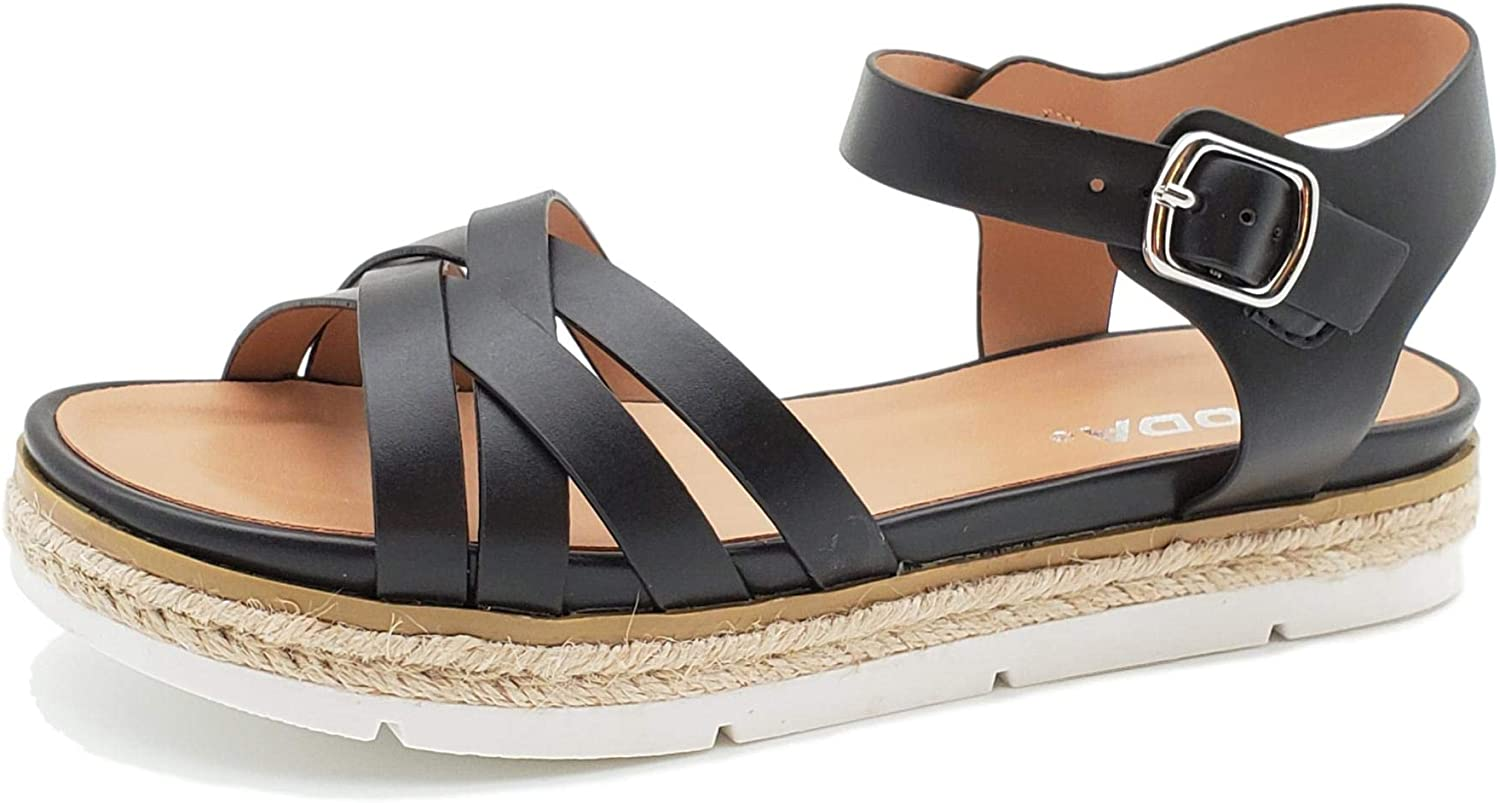 SODA Roaming Open Toe Sandal Espadrille Trim with Adjustable Ankle Strap Women's