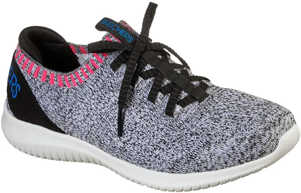 Skechers Women's Ultra Flex Rapid Attention Fashion Sneakers White/Black/Pink 8