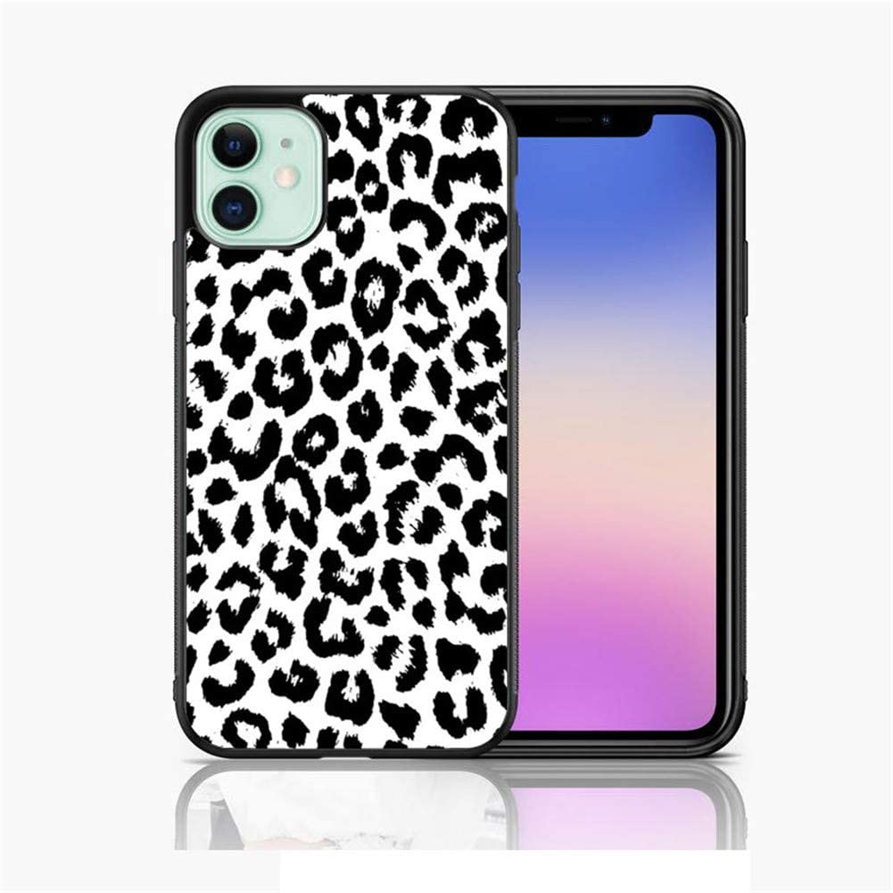 XUNQIAN iPhone 11 Case, Black White Leopard Design Glossy Thin Soft Black TPU +Tempered Mirror Material Protective Case for Apple iPhone 11 Cases (A-for iPhone 11)