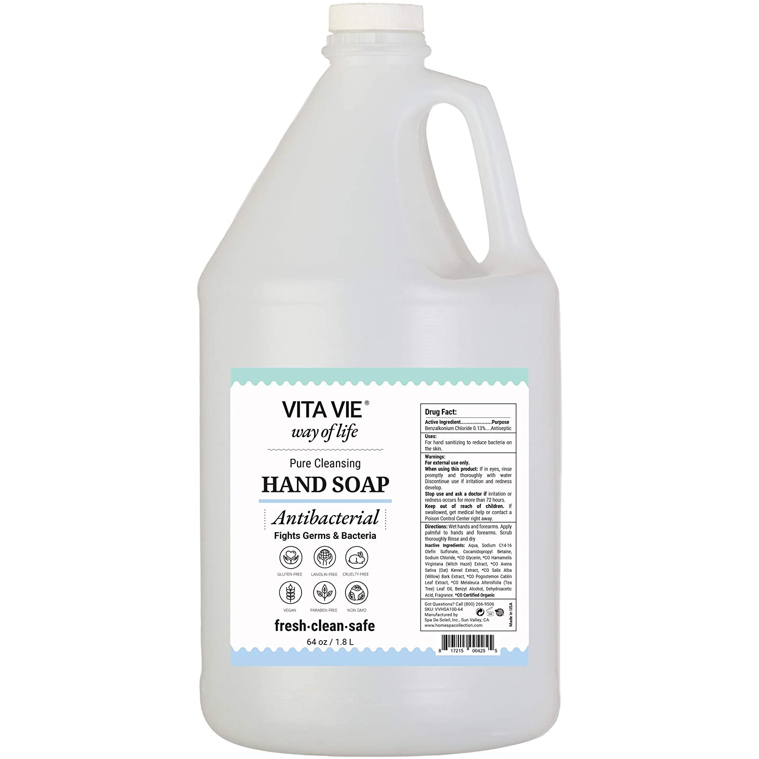 VITA VIE Antibacterial Hand Soap, 64 oz - Cleansing Liquid Hand Soap Refill - Alcohol-free, Paraben-free, Sulfate-free, Cruelty-free - Made in America - Ideal for Home, Office, Schools, Restaurant, Events, Kitchen, Restroom, Gym, Day Care