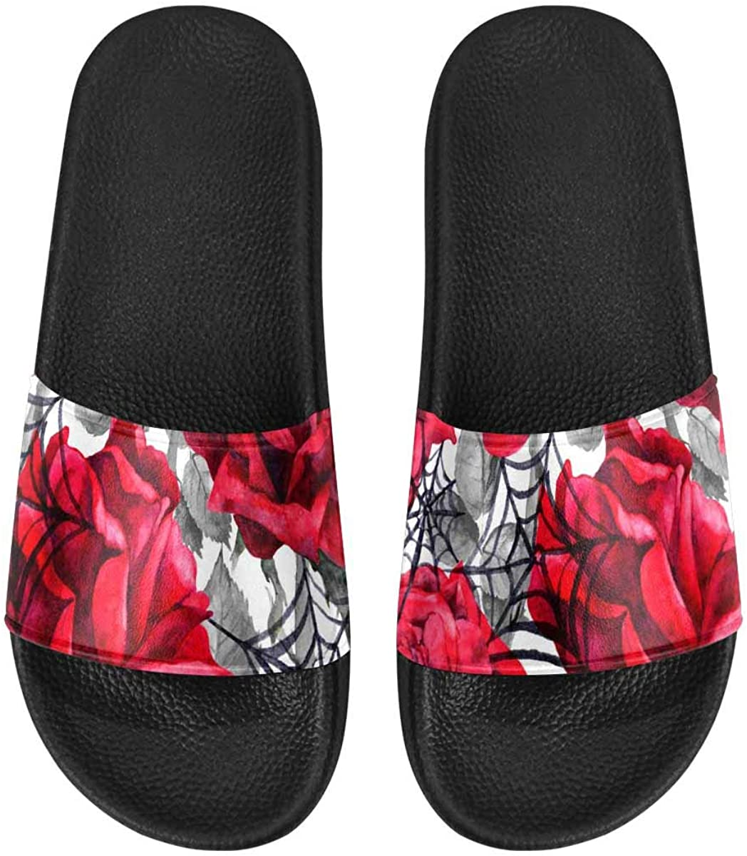 InterestPrint Women's Slide Sandals with PVC Straps and Sole Red Leopard