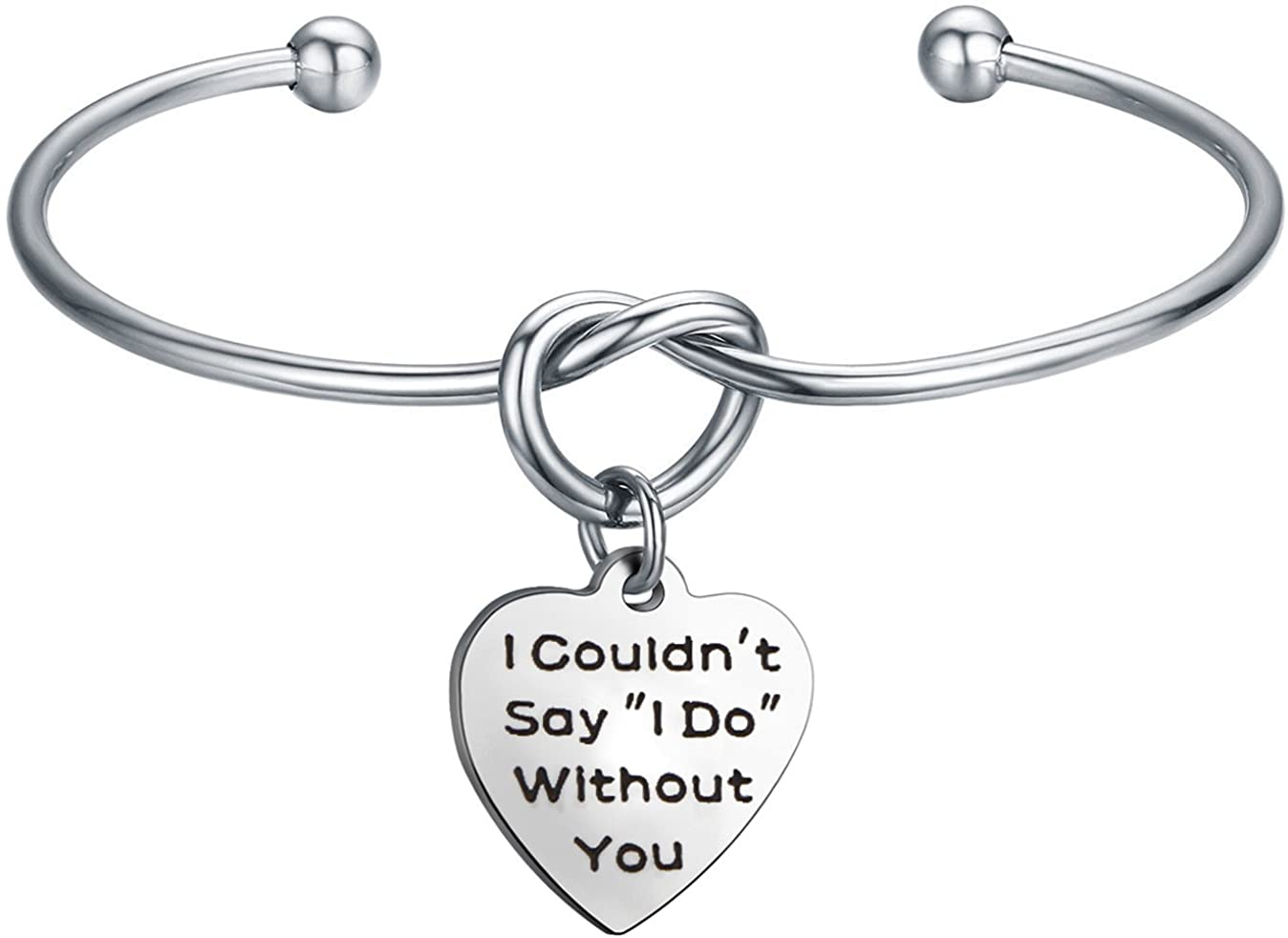 QIIER I Couldn't Say I Do Without You Bridesmaid Gift Love Knot Bangle Bracelet Tie The Knot Cuff Bangle for Bridesmaid Flower Girl