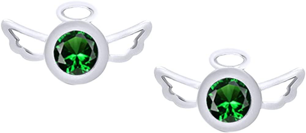 Angel Wings Stud Earrings In 14k White Gold Over Sterling Silver