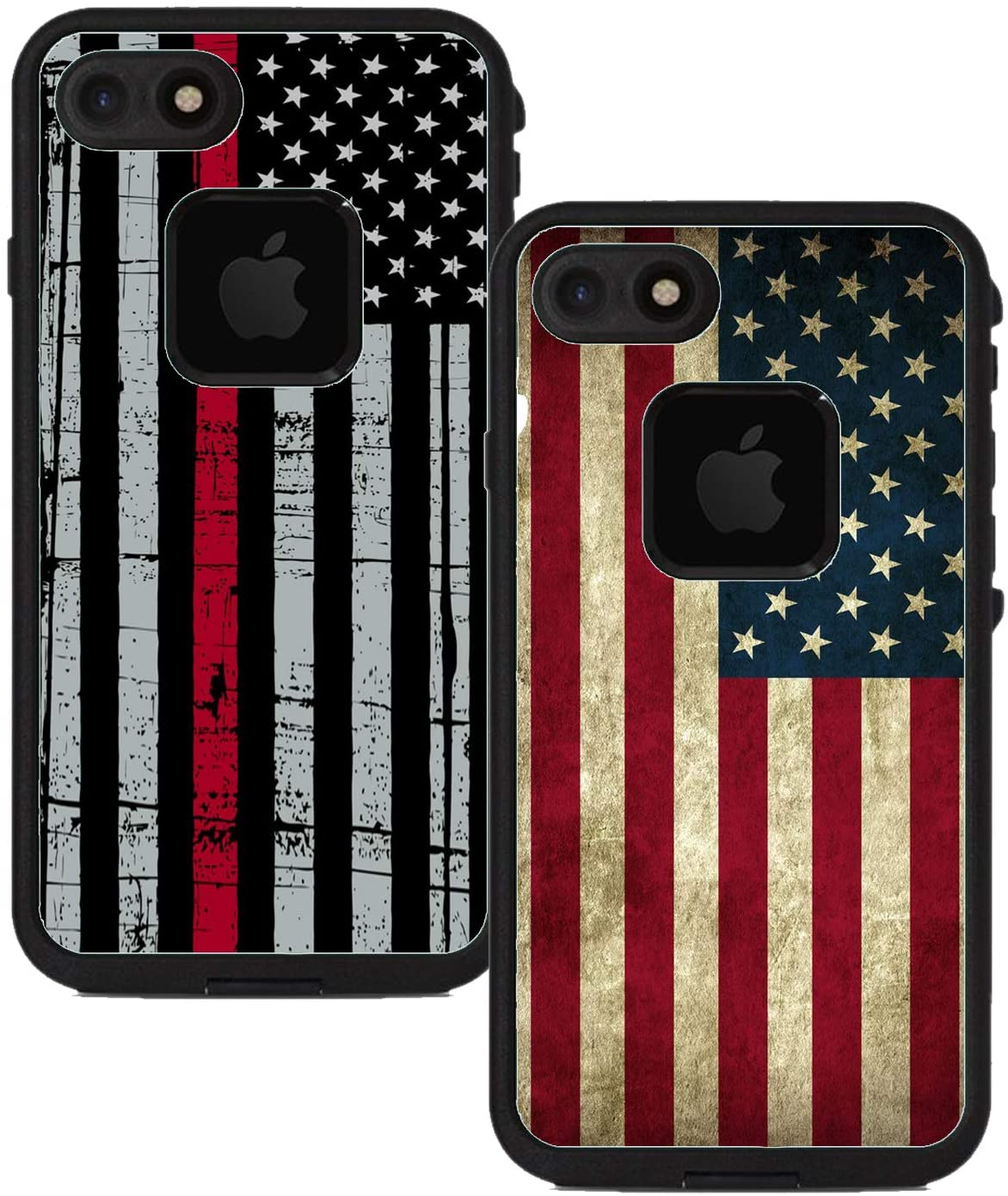 Teleskins Protective Designer Vinyl Skin Decals Compatible with Lifeproof Fre iPhone 7 / iPhone 8 Case - Thin Red Line USA Police Flag and Grunge USA American Flag [Pack of 2 Skins]