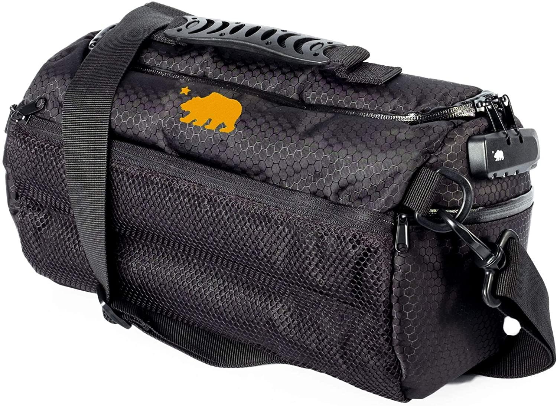 Cali Crusher 100% Smell Proof Duffle Bag w/Combo Lock (Black/Orange, 12