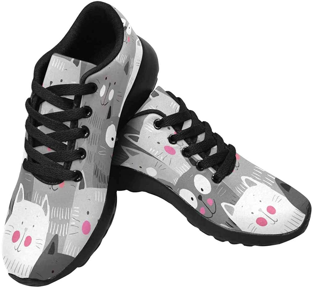 InterestPrint Women's Running Shoes - Casual Breathable Athletic Tennis Sneakers Cute Cats Colorful Pattern
