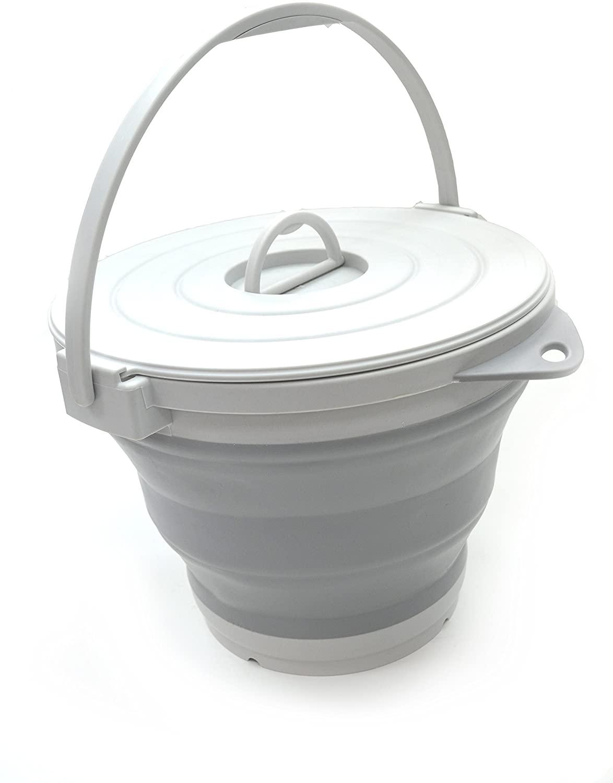SAMMART Set of 2-10L (2.64Gallon) Collapsible Fishing Bucket Locking Lid, 31cm Dia. (2, Grey)