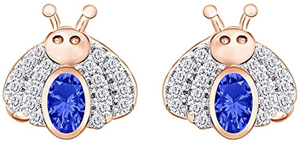 Ritika Created Oval Cut Blue Sapphire In 925 Sterling Silver 14K Gold Over Cute Bee Stud Earring for Women