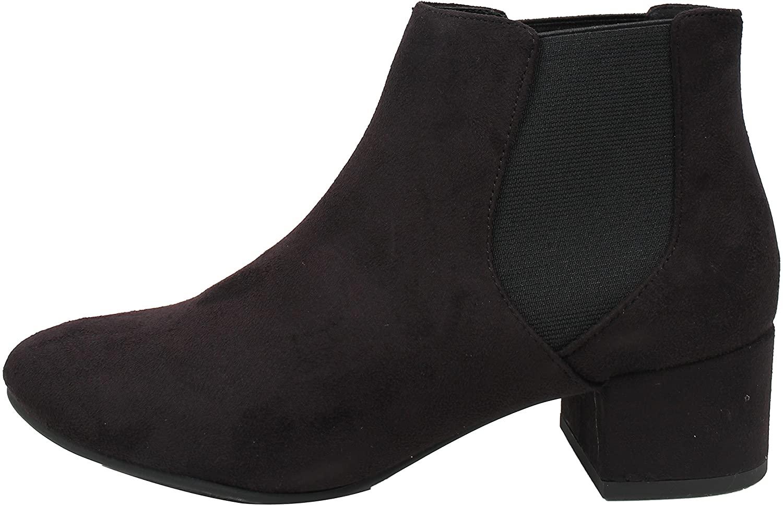 City Classified Women's Closed Toe Faux Suede Elastic Block Heel Ankle Bootie