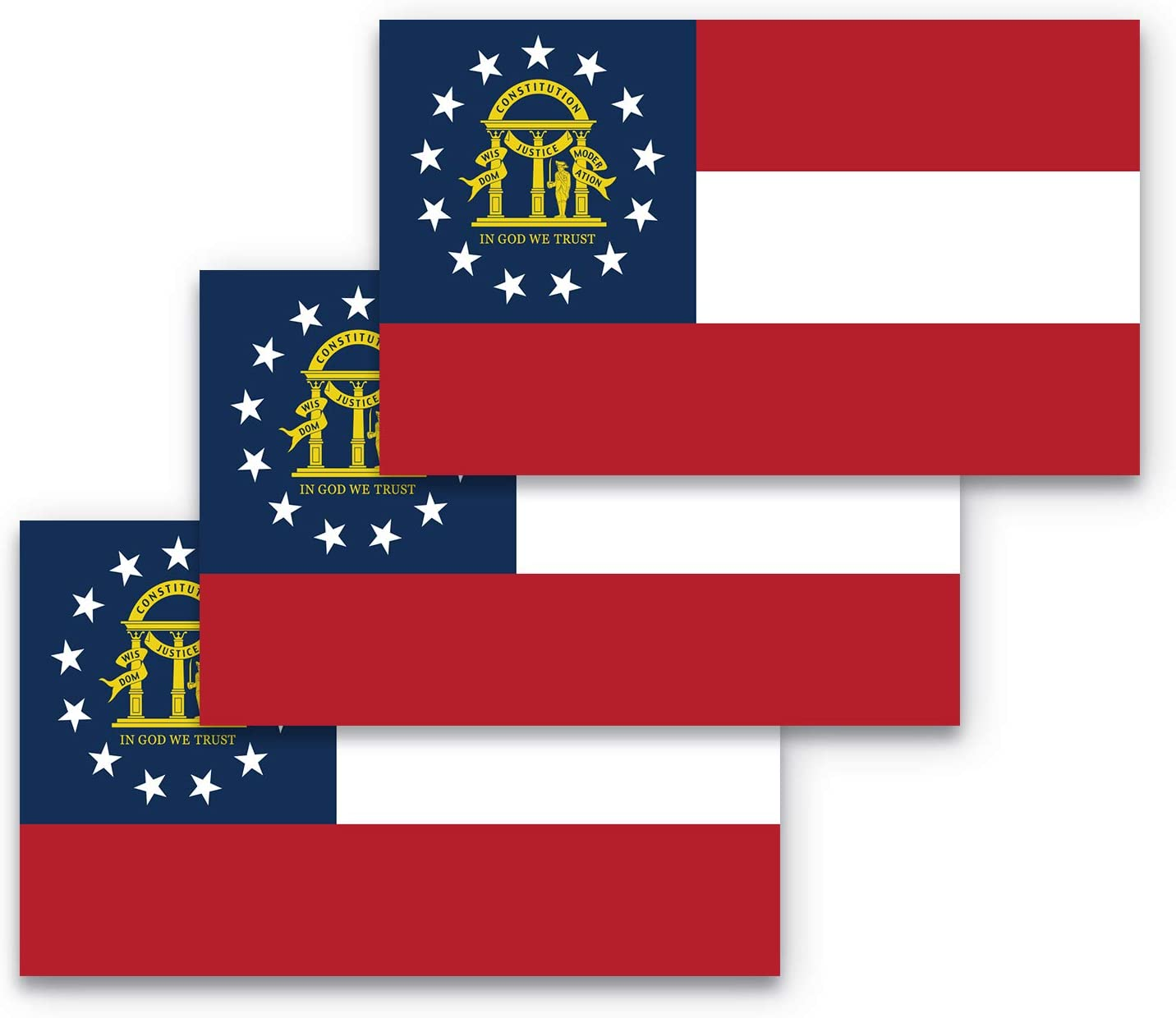 3x5 Georgia Flag Bumper Sticker 3-Pack Made with Durable, Waterproof Materials, Flag of Georgia Bumper Sticker, State Flag of Georgia Bumper Sticker, Georgia State Flag Bumper Sticker