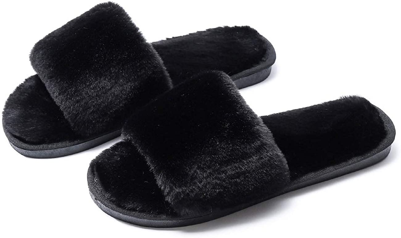 Ladies Fuzzy Fluffy Furry Fur Slippers,Flip Flop Open Toe Cozy House Slides Slippers,Soft Flat Comfy Anti-Slip Slip on Plush Shoes