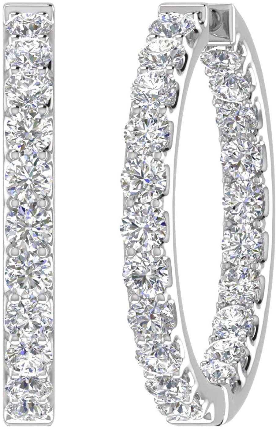 4 Carat (ctw) Inside Out Diamond Hoop Earrings in 14K Gold - IGI Certified