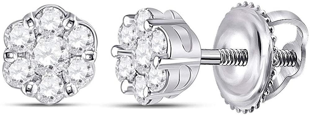 LU DIAMONDS 10K White Gold Diamond Pretty Flower Earrings 1/3 Ctw.