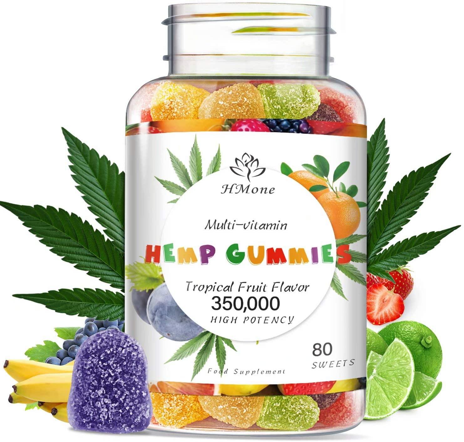 Organic Hemp Gummies - 350 000MG Extra Strength, 80ct - Anxiety & Stress Relief - Natural Sleep Aid - Rich in Vitamins & Omega 3-6-9