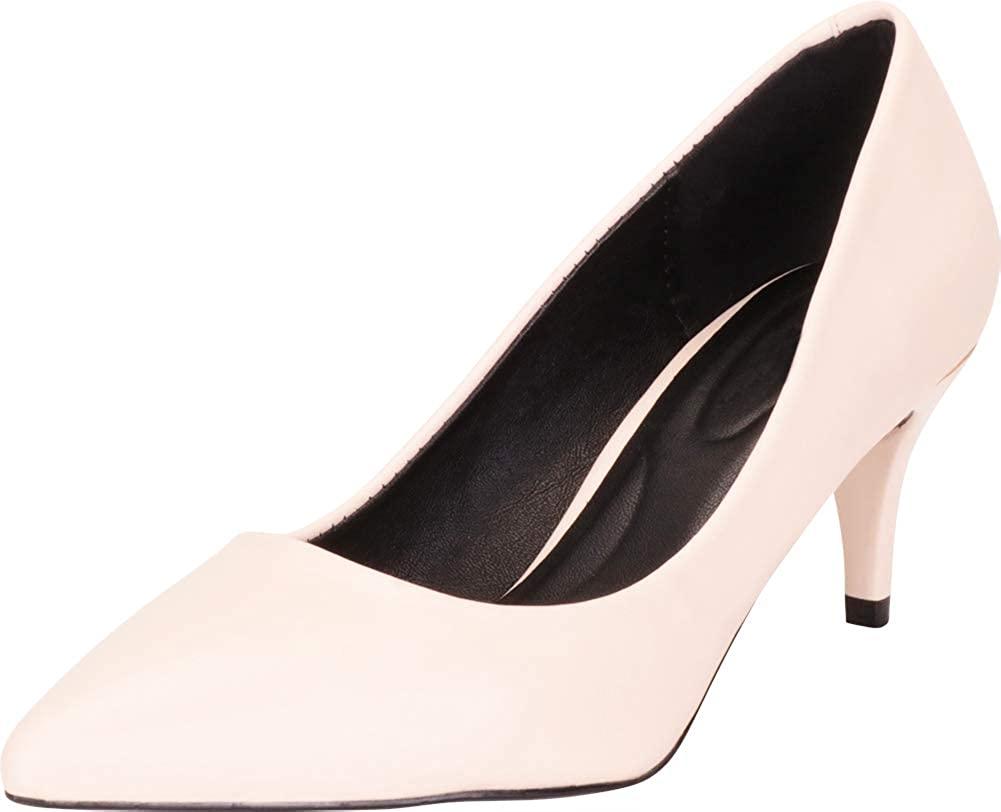 Cambridge Select Women's Classic Pointed Toe Slip-On Mid Kitten Heel Pump