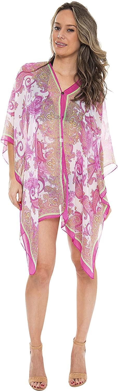 Lovely Lies Semi See Through Sun Dress for Women Swim Suit Cover Up Resort Cruise Wear Fuschia