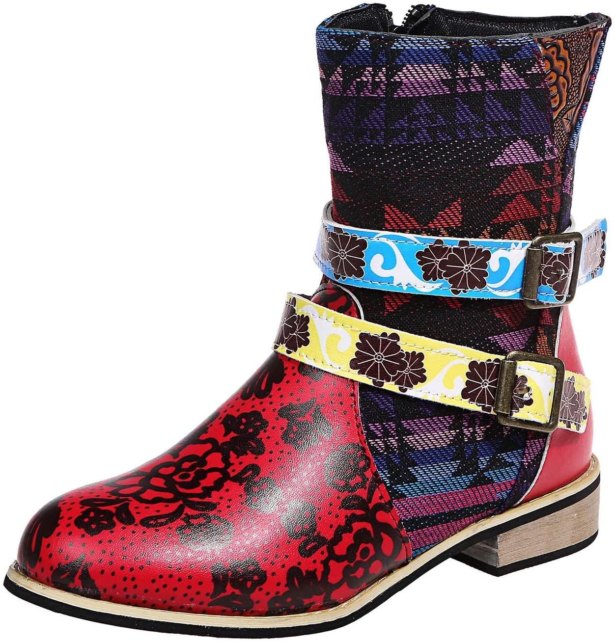 Padaleks Women's Retro Western Boot, Ankle Bootie for Women Faux Leather Vintage Fashion Short Boots Side Zipper Floral Pattern Roman Shoes