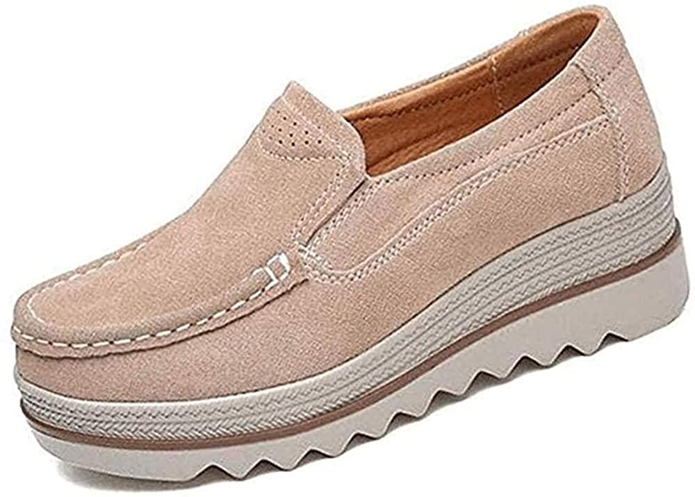 Deals Women Comfy Slip-On Platform Shoes Women Platform Slip On Loafers Comfort Wedge Shoes