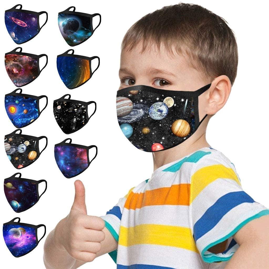 ShaggyDogz 10PCS Kids Halloween Christmas Reuseable Washable Breathable Face Bandanas Childrens Cloth Protective School