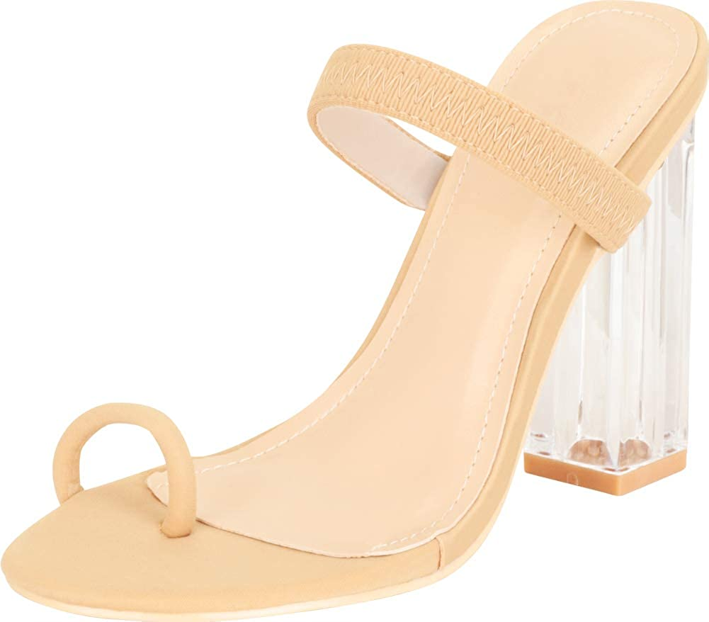 Cambridge Select Women's Toe Ring Slip-On Chunky Block Clear See-Through High Heel Sandal