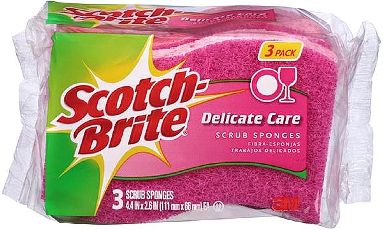 Scotch-Brite Delicate Care Scrub Sponges 3 ea (Pack of 4)