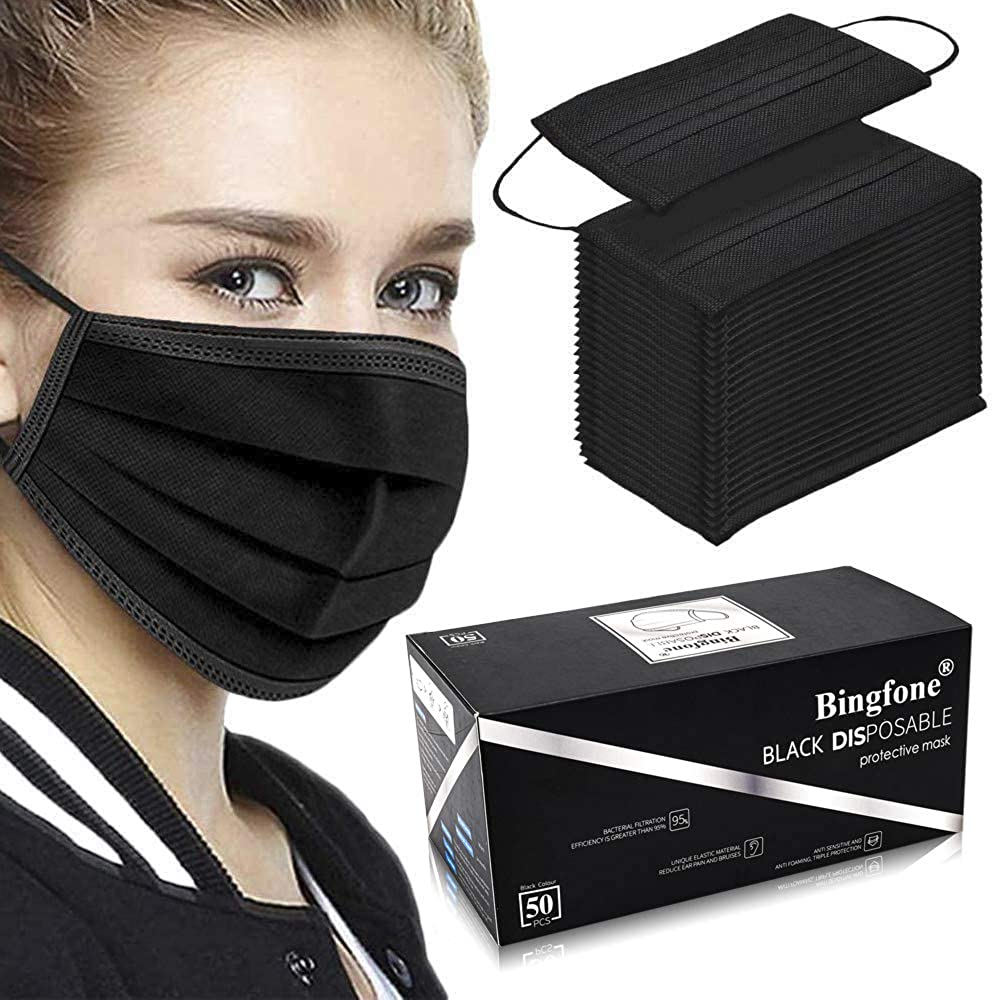 50 PCS Black Face Mask, 3-Layer Disposable Masks, Breathable Cloth Face Mask, Adjustable Medical Masks With Elastic String and Nose Wire, Polyester Dust Mask for Adult, Men, Women