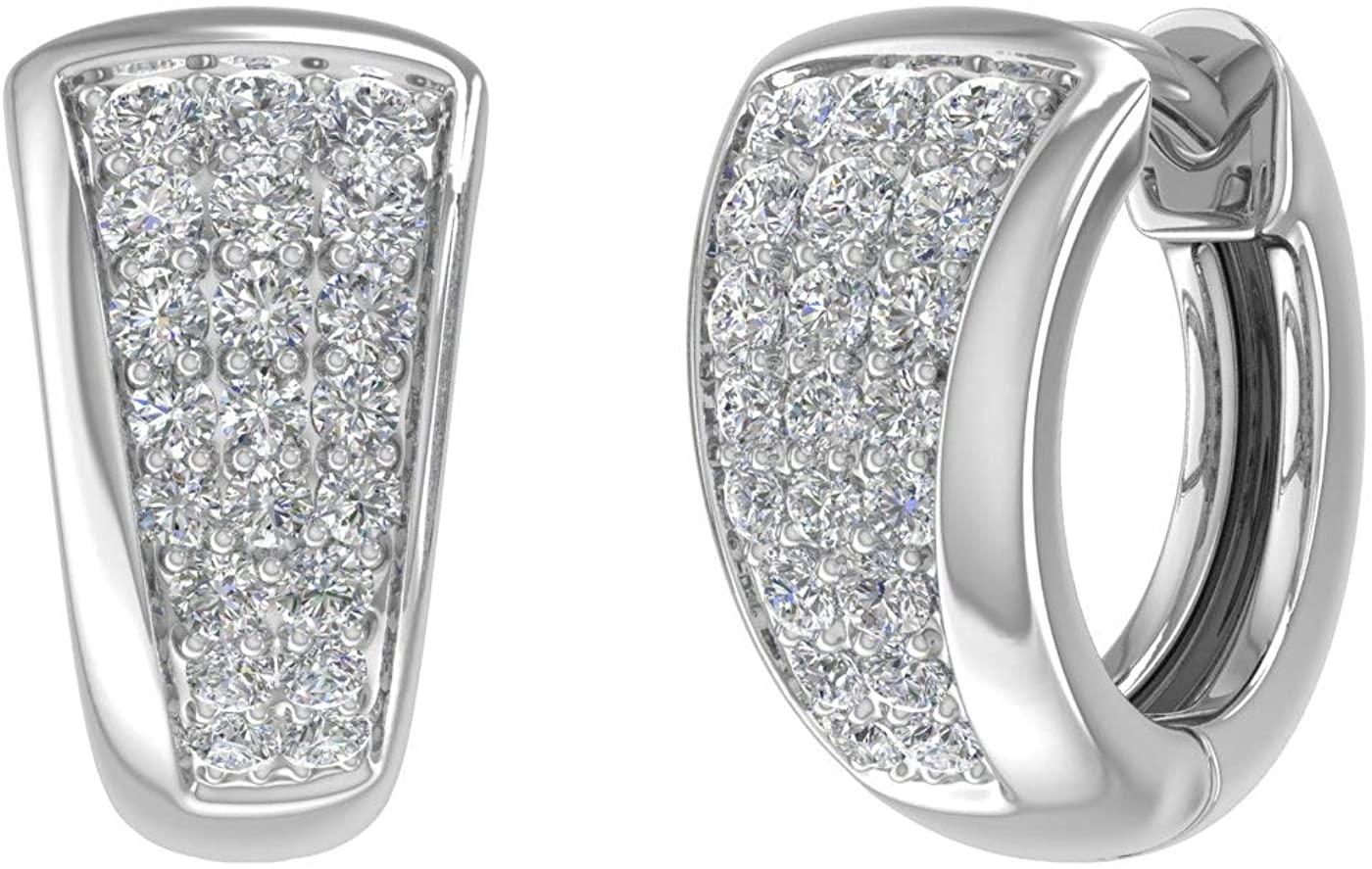 1/2 Carat Diamond Huggies Earrings in 14K Gold - IGI Certified
