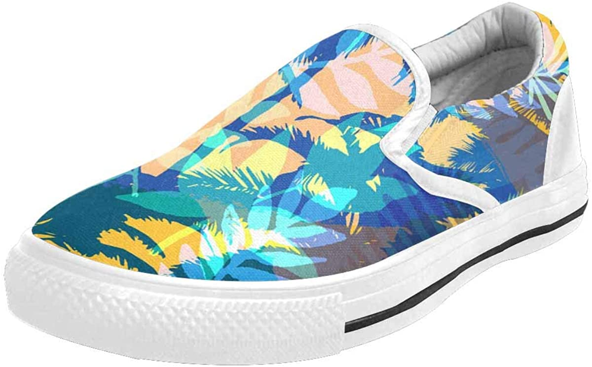 INTERESTPRINT Bright Summer with Palm Tree Leaves Women's Comfortable Outdoor Slip On Sneakers Canvas Shoes