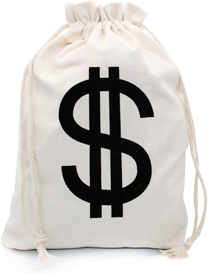 Hibeiers Canvas Natural Money Bag Dollar Sign Bank Bag Drawstring Gift Bag for Christmas,Birthday,Wedding,Party Favors (19x14 inches)