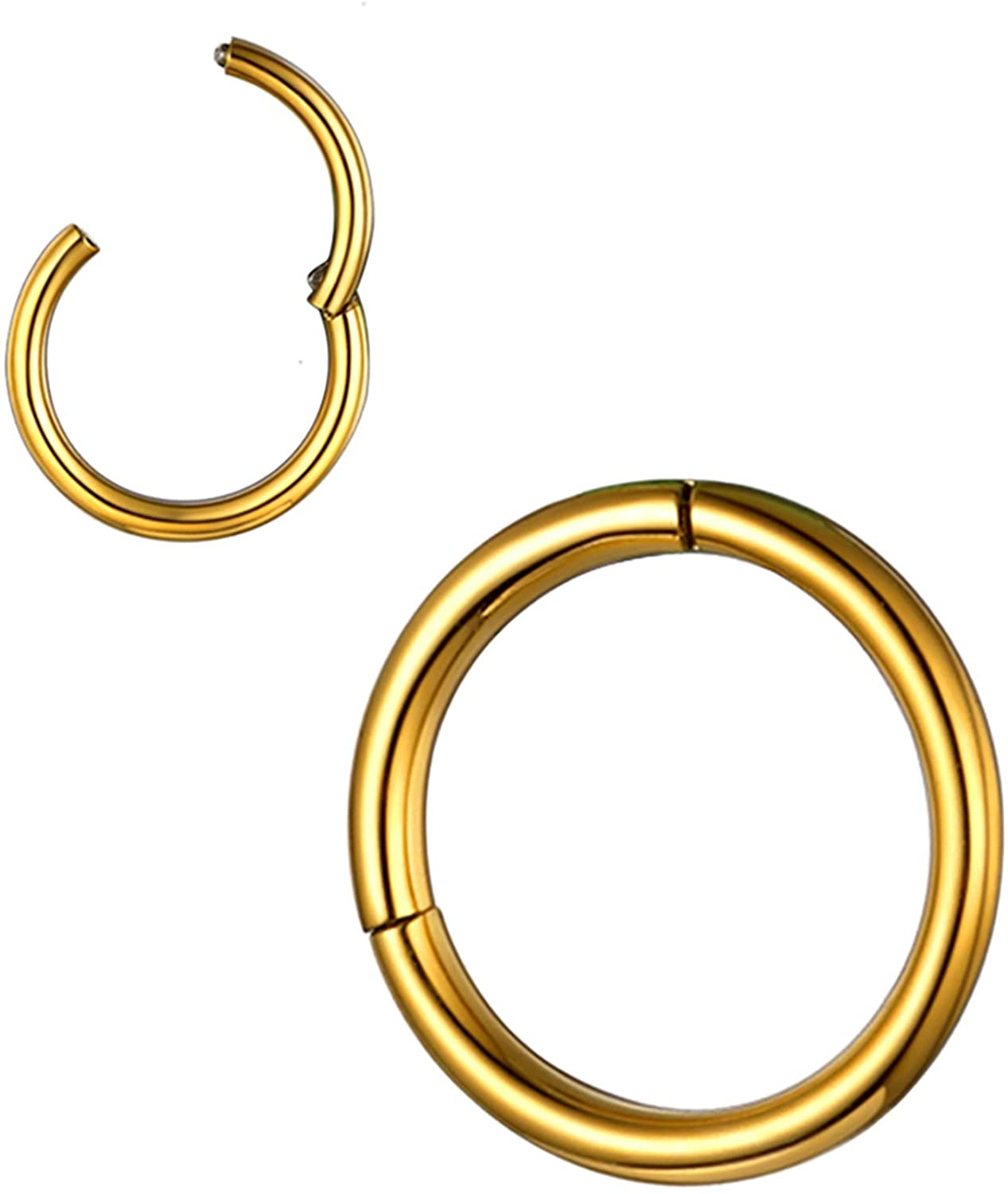 U7 Nose Rings for Men Women Surgical Stainless Steel Body Piercing Jewelry Tiny Wrap Hoop Hinged 18G 20G Lip Earring Nostril Nose Ring, Silver Gold Rose Gold Color 1-3 Pcs