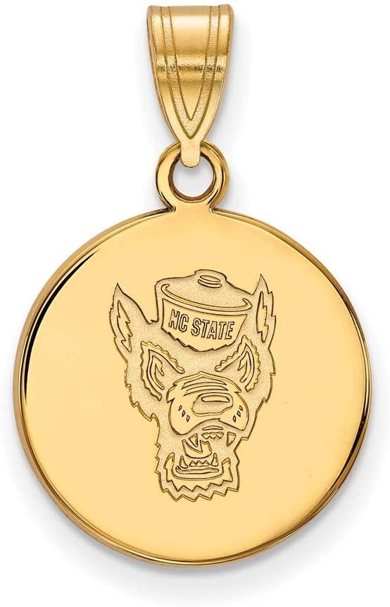 Black Bow Jewelry NCAA 14k Yellow Gold North Carolina Medium Disc Necklace