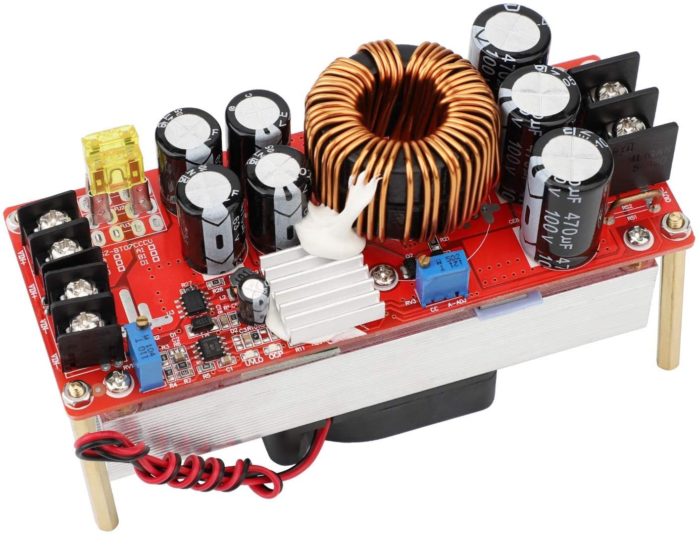 Boost Voltage Converter, DROK 1500W Voltage Regulator Booster DC 10-60V Step Up to 12-90V 20A Input Power Supply Module Volt Transformer Circuit Board