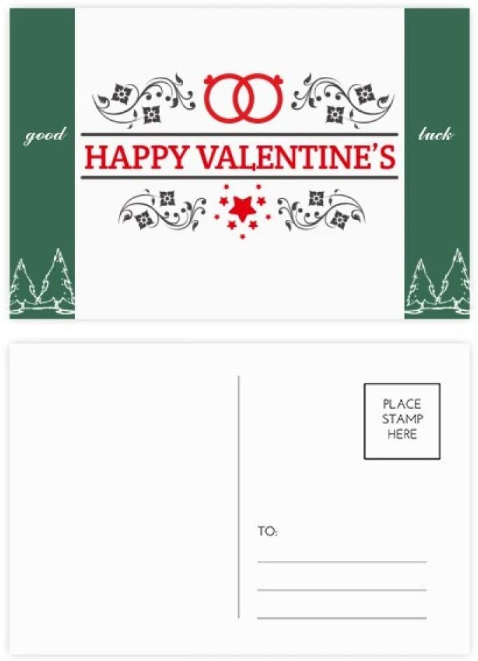 'Red Black Happy Valentine''s Day Good Luck Postcard Set Card Mailing Side 20pcs'