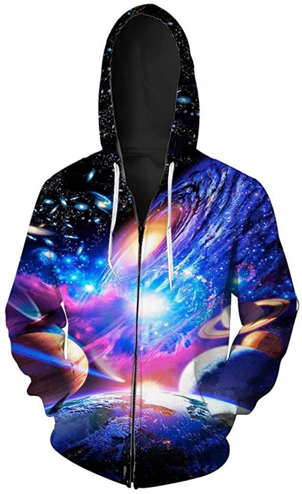 LeeQn Unisex Anime Cosplay 3D Pullover Print Hooded Sweatshirt Hoodie Coat Top Cremallera planetaria (S-3XL)