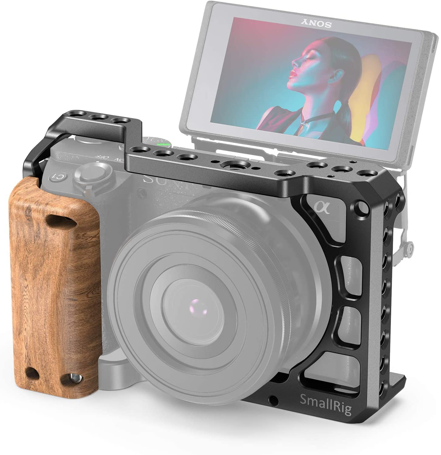 SmallRig Cage Kit with Wooden Handle Hand Grip, for Sony A6100 A6300 A6400 A6500 Camera - KCCS2705